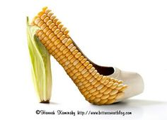 Mais Designs. Corn cob shoes. Featured on RushWorld board, WELCOME TO HELL HERE ARE YOUR SHOES.  See you at RushWorld on Pinterest! New content daily, always something you'll love! #UnpredictableWomenHauteCouture #WelcomeToHellHereAreYourShoes
