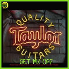 Neon Sign Taylor Guitar Light Store Display Handcrafted Neon Bulbs Glass Tube Advertise Neon Pub Signs Neon Publicidad 24x24