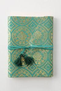 Caderninho turquesa com dourado. Lindo!