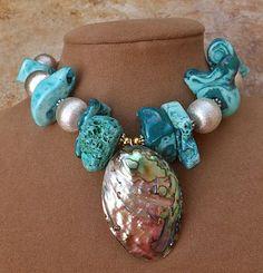 Aqua Azul Turquesa crudo Collar De Coral Esponja Grande Abalone Perla Colgante Plata