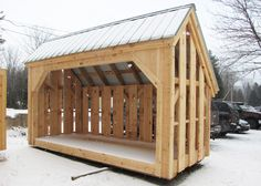 Designed to hold four cords of wood, this wood shed is our most popular & in size 6x14. Order this traditional post & beam woodshed from Jamaica Cottage Shop.