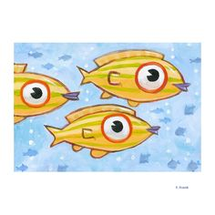 """Giclée Print on Fine Art Paper: """"Three Yellow Fish"""". By F. Frank.Paper size: 13 x 19 inches. Every Giclée-Print is handsigned, titled and dated on the front. Printed with high quality pigment inks on fine art matte paper. Fish Artwork, Yellow Fish, Tropical Fish, Pigment Ink, Paper Size, Fine Art Paper, Giclee Print, Original Paintings, Wall Art"""