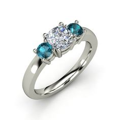 Cushion Diamond Palladium Ring with London Blue Topaz - Estelle Ring | Gemvara