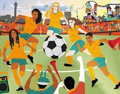 Fifa Women's World Cup, Google Doodles, New Work, South Africa, Digital Art, Behance, Illustrations, Gallery, Check