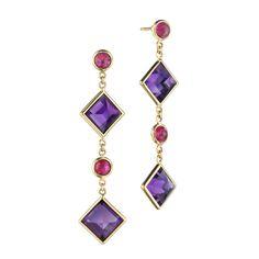 Paolo Costagli 'Florentine' Amethyst & Ruby Drop Earrings - available at Betteridge