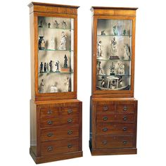 Pair of Edwardian English Satinwood Inlaid Cabinets on Chests c.1900