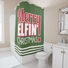 Funny Merry Elfin' Christmas Shower Curtain - shower gifts diy customize creative