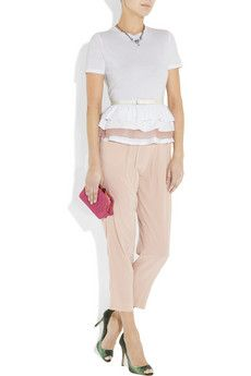 Miu Miu Slouchy Silk Crepe de Chine Pants - pleats paired with a peplum?  I am smitten.