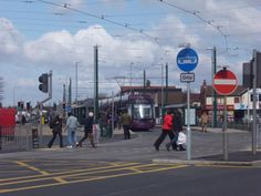 New Bombardier Tram on first day of operation on Fylde Coast, April 4th 2012. Cleveleys.