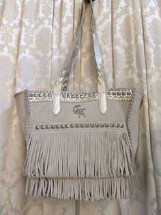 Details about Christian Audigier Womens Purse Shoulder bag Woodstock Ranch  suede gray large 4a9c453dd9382