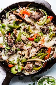 Philly Cheese Steak Skillet made with bell peppers, onions and lots of melted cheese! Philly Cheese Steak Skillet made with bell peppers, onions and lots of melted cheese! Healthy Recipes, Beef Recipes, Cooking Recipes, Turkey Steak Recipes, Cubed Steak Recipes, Seafood Recipes, Pepper Recipes, Skillet Recipes, Cooking Games