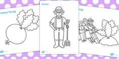 The Enormous Turnip Colouring Sheets - colouring, sheet, turnip