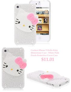 White Pink Pearls Case Hello Kitty iPhone 5 Cover Case - Girly Kitty Design for iPhone 5 - Free Shipping , Top Quality #hello #kitty #iphone5 #cases #rhinestone #pink #pearls #girly #cover #case $11.01