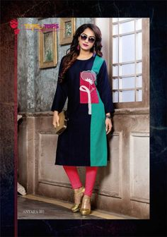TIPS and TOPS ANTRA 001 TO 009 SERIES DESIGNER BEAUTYIFUL COLORFUL FANCY CASUAL WEAR HEAVY RAYON EMBROIDERY WORK KURTI WHOLESALE PRICE