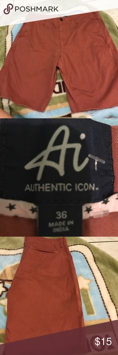 Authentic icon men's shorts size 36 Men's authentic icon light red wash worn once shorts size 36 waist authentic icon Shorts Flat Front