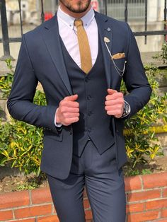 Suit material : Viscose , Polyester, ElestanMachine Washable : No Fitting : Regular Slim Fit Cutting : Double Slit, Double ButtonRemarks : Dry Cleaner Very Dark Blue Suit, Dark Blue 3 Piece Suit, Three Piece Suit, Blue Slim Fit Suit, Blue Suit Men, Black Suits, Mens Fashion Suits, Mens Suits, Groom Suits