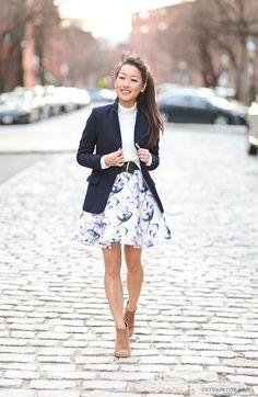 Extra Petite | Petite Fashion, Style Tips and DIY: TRUE DECADENCE DRESS 2P, WHBM BELT c/o, Sole Society booties Zara wool blazer, Maison Jules sweater