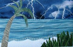 Handmade Quilted Postcard, Fabric Postcard, Ocean, Beach, Thunderstorm, Lightning Postcard,Fiber Art Landscape Art Greeting Cards  Spring by SewUpscale on Etsy