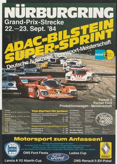 NURBURGRING DRM SUPERSPRINT 1984 RACE FLYER POSTER PORSCHE 956 STEFAN BELLOF WIN
