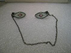 Vintage Sterling Silver Art Deco Guilloche Rose Sweater Clip with connecting chain