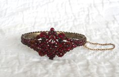 1880 s sterling GARNET bracelet,Victorian vintage gone with the wind style rare! $420