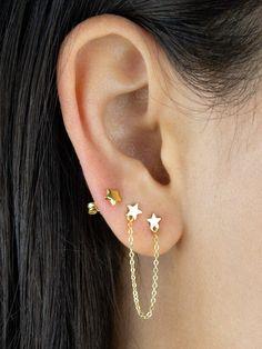 Triple Ear Piercing, Three Ear Piercings, Unique Ear Piercings, Second Piercing, Orbital Piercing, Cute Piercings, Different Ear Piercings, Ear Jewelry, Cute Jewelry