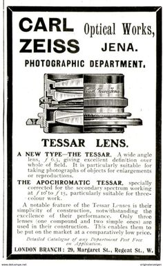 Original - Anzeige / Advertise 1903 : (ENGLISH) CARL ZEISS JENA OPTICAL WORKS / PHOTOGRAPHIC DEPARTMENT - 55 X 100 Mm - Werbung