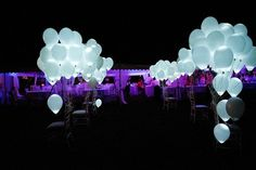 Awesome Outdoor Wedding Send-Off! Light LED balloons! Might be cheaper than the paper lantern send off. Thing I'm loving this as an option. Not bubbles & sparklers like everyone else does.