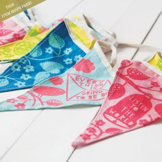Fete Bunting Banner from Olive & Cocoa- love the colors.  Try to find fabric scraps to make my own.