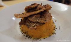 Marinated Roast Pork Lomo with Mashed Yellow Pumpkin, that was the original name of this recipe by Chef Logro. First, we don't have an oven, so the roast part is scratched. Filling Food, Marinated Pork, Pork Roast, Oven, Pumpkin, Yellow, Cooking, Ethnic Recipes, Kitchen