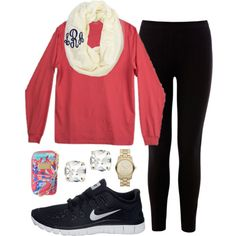 A fashion look from December 2013 featuring stretch waist pants, nike footwear and red wristlet. Browse and shop related looks. Fall College Outfits, Lazy Day Outfits, Preppy Outfits, College Fashion, Fall Winter Outfits, Winter Fashion, Cute Outfits, Casual Winter, Simple Outfits