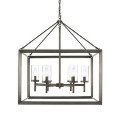 Golden Lighting Smyth Gunmetal Bronze Modern/Contemporary Clear Glass Chandelier at Lowe's. Modern lanterns featuring a handsome beveled cage design make a modern, elegant statement in the myth collection. Chandelier Design, Lantern Chandelier, Bronze Chandelier, Candelabra Bulbs, Chandelier Lighting, House Lighting, Entry Chandelier, Lantern Lighting, Bedroom Chandeliers