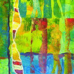 Acrylics (gel prints) & pastels on acrylic cardboard (15 x 15 cm)