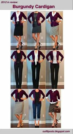 outfit posts: burgundy cardigan I love pretty much everything about these outfits Business Casual Outfits, Office Outfits, Work Outfits, Business Attire, Outfit Work, Office Attire, Work Fashion, Fashion Outfits, Fashion Fashion