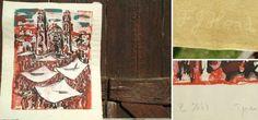 Kunstwerk auf geschöpften Papier - Kathedrale in Rot