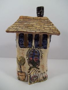 "Heather Goldminc 2000 Porcelain ""WELCOME PICKET FENCE"" Candle House"