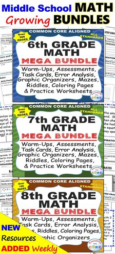 7th Grade Math Standards Based Assessments * All Standards ...