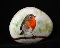 Painted Rock/Stone - Robin sitting on a branch Painted Rock Animals, Painted Rocks Craft, Hand Painted Rocks, Pebble Painting, Pebble Art, Stone Painting, Stone Crafts, Rock Crafts, Rock Painting Designs