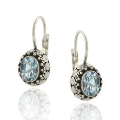 Glitzy Rocks Sterling Silver 2ct TGW Oval Blue Topaz Leverback Earrings | Overstock.com-- $18.49
