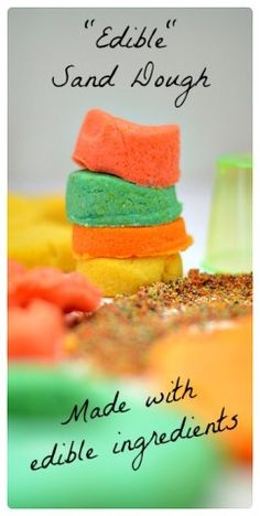 Edible Sand dough Recipe from Blog Me MOM. Fun sensory play recipe made with edible ingredients