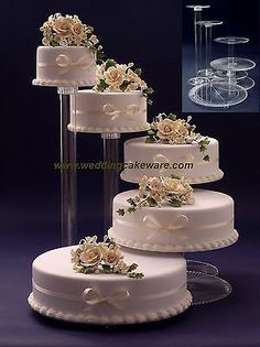 second choice ----- 5 Tier Cascading Wedding Cake Stand Stands Set Wedding Cake Fresh Flowers, Floral Wedding Cakes, Elegant Wedding Cakes, Wedding Cake Designs, Lace Wedding, Garden Wedding, Wedding Dresses, Extravagant Wedding Cakes, Wedding Fair