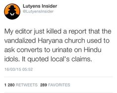 vandalized Haryana church used to ask Hindu converts to urinate on Hindu idols as per locals   #TalibaniMEDIA