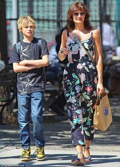 Mom and Mingus: Helena Christensen started celebrating Mother's Day early with a sunny stroll with son Mingus Lucien Reedus through the tren...