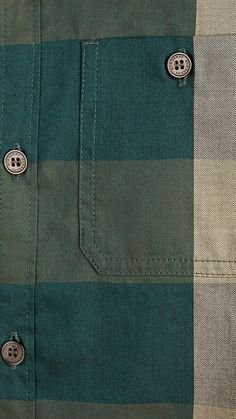 Dark teal Check Cotton Shirt - Image 3