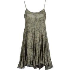 STELLA McCARTNEY Short dress ($270) ❤ liked on Polyvore featuring dresses, vestidos, short dresses, tops, military green, chiffon dress, sleeveless cocktail dress, mini dress, olive green cocktail dress and no sleeve dress