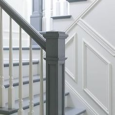 Ted's Woodworking Plans - White and Gray Staircase with Wainscoting Get A Lifetime Of Project Ideas & Inspiration! Step By Step Woodworking Plans Staircase Spindles, White Staircase, Painted Staircases, Painted Stairs, Banisters, Staircase Design, Staircase Ideas, Bannister Ideas Painted, Staircase Banister Ideas