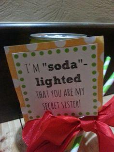 "Secret Sister Gift - ""Soda-lighted That You're My Secret Sister"""