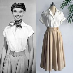 Vintage/ Audrey Hepburn/ Roman Holiday/ White Blouse/ Pleated Blouse/ Women Blouse/ 1950's/ Custom Made Top