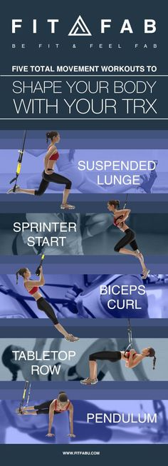Five total movement workouts to shape your body with your TRX Perform these exercises in order with minimal rest between them to keep your heart rate up. Complete a total of three circuits, resting 30 seconds to 1 minute between circuits. For more intensi Trx Workouts For Women, Gym Workouts, At Home Workouts, Kettlebell Training, Circuit Training, Trx Yoga, Suspension Training, Trx Suspension, Body Weight Training