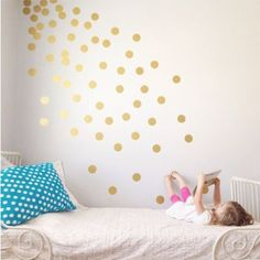 "Vinyl Polka Dot Removable Wall Decals (Gold, 3"")  $22 for 56 3"" dots, or 2"" 120 dots, or 4"" 35 dots. 6"" 18 dots. High quality vinyl from the USA Matte finish to give the look of paint Easy to apply and very forgiving. Perfect for DIY projects Lasts for years without leaving residue, stains, or damage to walls Easy to remove"